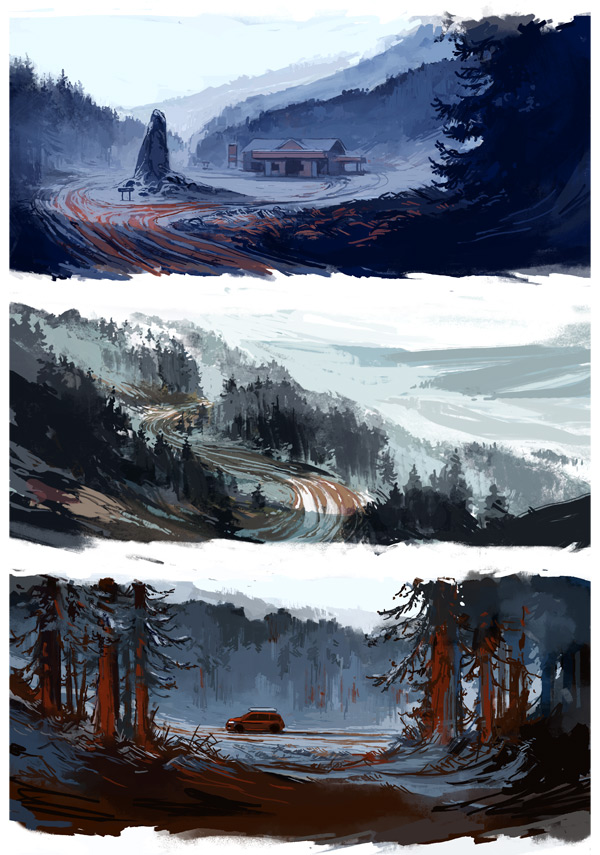 speed paintings to test the color mood in this act
